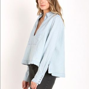 Free People Tops - Free People Ready or Not Chambray Top Rumi Wash